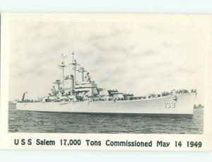 rppc 1949 Military USS SALEM NAVY SHIP BOAT AC8073