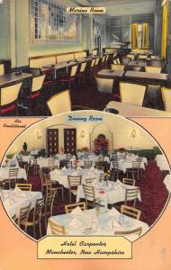 Manchester New Hampshire Hotel Carpenter Restaurant Interior Postcard J78165