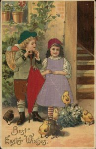Langsdorf? Easter Children REAL SILK c1910 Postcard #2
