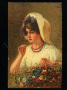 169207 Girl w/ FLOWERS by PASS vintage ADVERTISING SINGER Co.