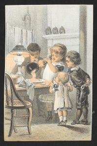 VICTORIAN TRADE CARD Pratts Astral Oil Food Served, Kids & Lamp on Table