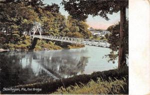 Skowhegan Maine~Foot Bridge Reflects in River~Houses Upstream~1910 Postcard
