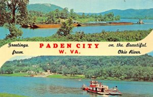 PADEN CITY WV~ON THE BEAUTIFUL OHIO RIVER~SPLIT VIEW GREETINGS FROM POSTCARD