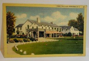 Vintage Postcard Powelton Club Newburgh New York 1944 linen 712