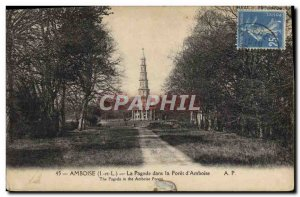 Old Postcard Amboise Pagoda in the forest