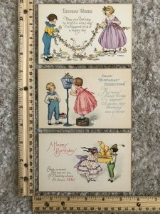 Three Happy Birthday Postcards Boys and Girls Giving Gifts~118913