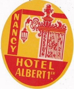 France Nancy Hotel Albert 1st Vintage Luggage Label sk2100