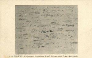 PC CPA FREEMASONRY, FAC-SIMILI DE SIGNATURES DE QUELQUES, Postcard (b14679)