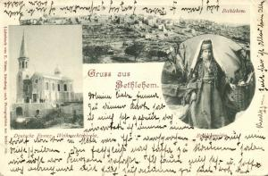 ottoman israel palestine, BETHLEHEM, Panorama, German Church, Native Woman 1899