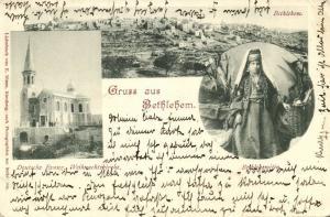 ottoman israel palestine, BETHLEHEM, Panorama, German Church, Native Woman 1899