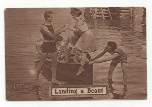 Landing a Beaut, Pretty lady being helped out of row boat, 1900-10s