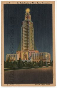Baton Rouge LOUSIANA - State Capitol at Night Vintage Linen Postcard