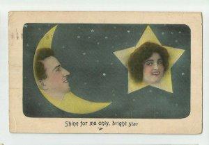 POSTCARD ~ Fantasy Romance ~Crescent Moon & Star ~ Man Woman~ Mailed 1912