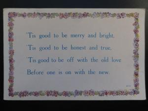 Verse & Poem TIS GOOD TO BE MERRY AND BRIGHT - Old Postcard by Alphalsa Co Ltd