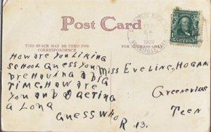 CEDAR CREEK RURAL STATION postal cancel, 1909 on poem - GREENEVILLE