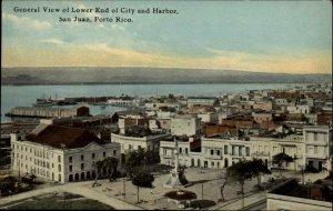 San Juan Puerto Rico Birdseye Lower End c1910 Postcard