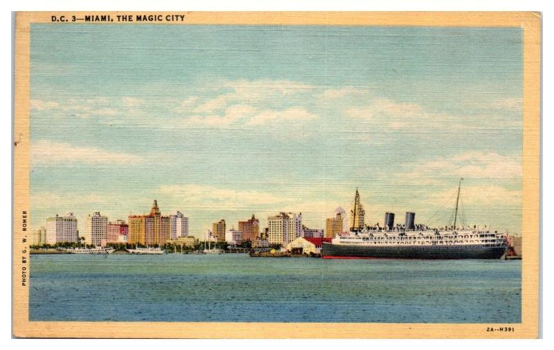 1942 Miami, FL Skyline w/ Cruise Ship Postcard