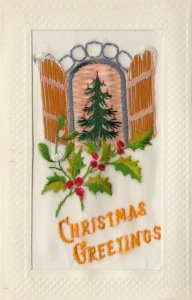 EMBROIDERED, 1900-10s; Christmas Greetings, Christmas tree in window