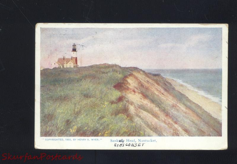 NANTUCKET MASSACHUSETTS SANKATY HEAD LIGHTHOUSE ANTIQUE VINTAGE POSTCARD