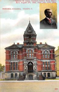 B44/ Toledo Ohio Postcard Lucas County c1910 Memorial Building Jones Mayor 2View