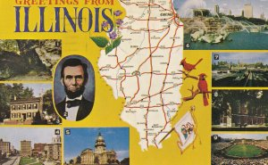 ILLINOIS State Outline, Map, 9-Views, PU-1968