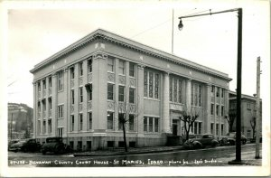 Vtg Postcard RPPC 1940s St. Maries Idaho ID Benowah County Courthouse w Cars