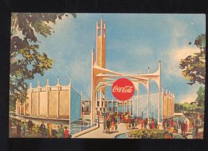 1964 NEW YORK WORLD'S FAIR COCA COLA BUILDING VINTAGE ADVERTISING POSTCARD