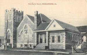 Shinglehouse Pennsylvania First Baptist Church Street View Postcard K82167