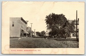 Morrisonville Illinois~Sixth Street Bank & Stores~Rutted Dirt Road~1910 Postcard