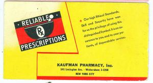 Reliable Prescriptions, Kaufman Pharmacy Inc. NYC