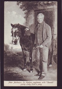 P1594 old unused postcard sir walter coachman &donald young lady scotts pony