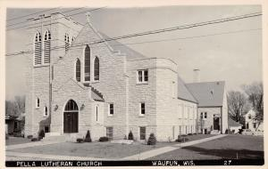Waupun WI Stone Construction of Brand New Bldg: Pella Lutheran Church 1950 RPPC