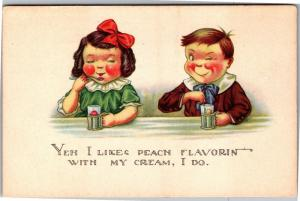 Winking Boy, Girl at Soda Fountain Yeh I Likes Peach Flavoring Postcard K06