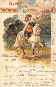 US2912 Behut Euch Gott, Riding Horse Trumpet Castle litho karlsruhe