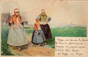 Sketch of Dutch girts wearing traditional attire, walking down path, PU