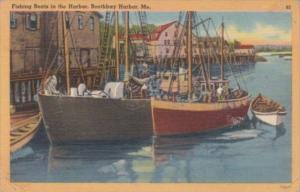 Maine Boothbay Harbor Fishing Boats In The Harbor 1956