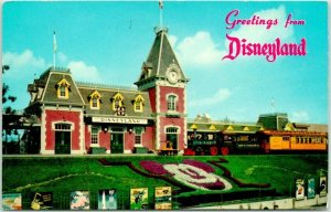 DISNEYLAND California Postcard Santa Fe and Disneyland Depot Train 1958 Cancel