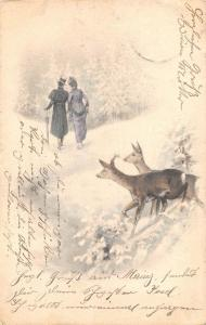US2158 Merry Christmas, Deers Animals, Forest Winter People  1900 greetings