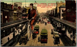 NYC Advertising Postcard ECLIPSE MACHINE CO. Bicycle / Bowery Scene 1911 Cancel