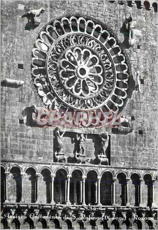 Modern Postcard Assisi Basilica of St Rufino Rosette