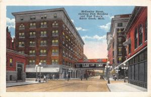 Battle Creek Michigan~McCamley Street~Post Building-Tavern~1920s Postcard
