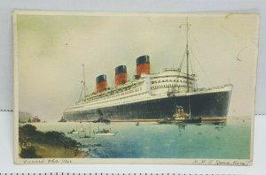 RMS Queen Mary Gunard White Star Vintage Postcard