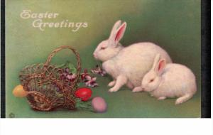 EASTER; Greetings, Mother and baby white rabbits, Wicker basket with colored ...