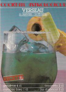 Aquarius Verseau Astrology French Cocktail Alcohol Postcard