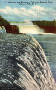 New York Niagara Falls American and Horseshoe Falls From Prospect Point 1945 ...