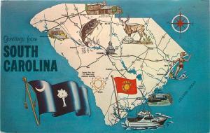 South Carolina Map PC~State Flag~Yellow Jassamine~Wren~Largemouth Bass~1960's