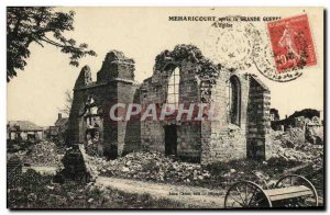 Old Postcard Meharicourt Army after the Great geurre The Church