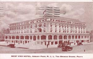 West End Hotel, Asbury Park, New Jersey, Early Postcard, Used in 1933
