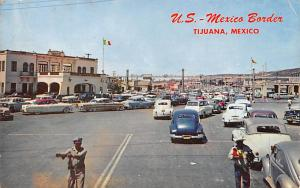 Mexico Old Vintage Antique Post Card US Mexico Border Tijuana 1959