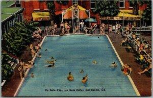 1940s Savannah, Georgia Postcard DE SOTO HOTEL Swimming Pool Scene Tichnor Linen